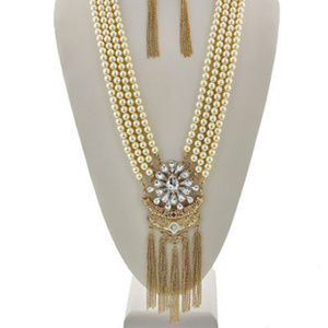 Cream Faux Pearl Tassel Necklace Earring Set